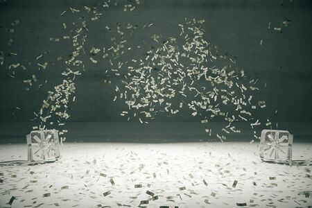 the fans: Two fans blowing dollar banknotes in concrete room. 3D Rendering