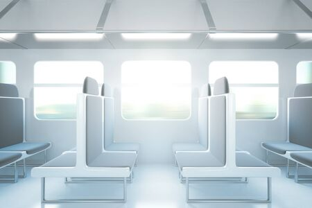 seats: Empty passenger train interior with grey seats. Side view, 3D Rendering Stock Photo