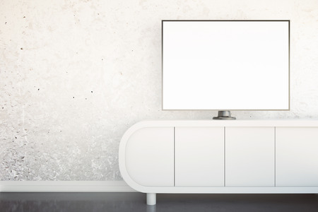 shiny floor: Front view of light tv stand with blank white TV screen in interior with concrete wall and shiny floor. Mock up, 3D Rendering Stock Photo