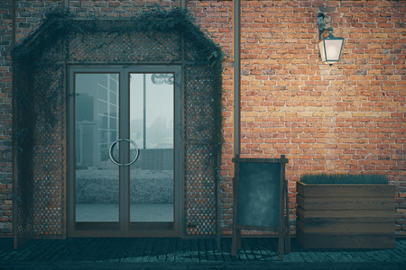 glass doors: Elegant red brick coffee shop exterior design with blank menu board, glass doors and lantern at night. 3D Rendering Stock Photo