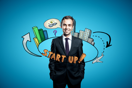 Abstract circular startup sketch around confident businessman in suit on blue background. Start up concept