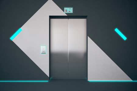 interior lighting: Front view of elevator in interior with pattern on wall and blue lighting. 3D Rendering
