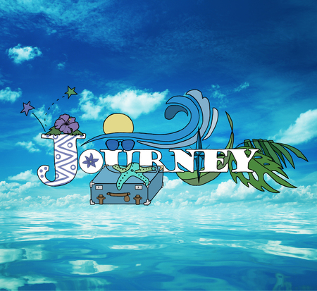 Journey sketch with traveling items on ocean and sky background. Travel concept