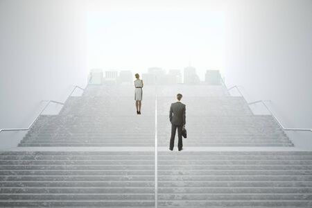 woman looking up: Success concept with thoughtful businesspeople standing on concrete stairs leading out to city with bright daylight. 3D Rendering Stock Photo