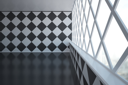 empty interior: Abstract empty interior design with chessboarddiamond-patterned wall and windows with city view. Side view, 3D Rendering