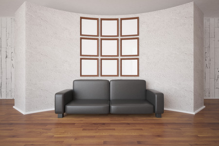 leather sofa: Front view of small empty picture frames organized into big square and leather sofa on abstract concrete wall background. Mock up, 3D Rendering Stock Photo