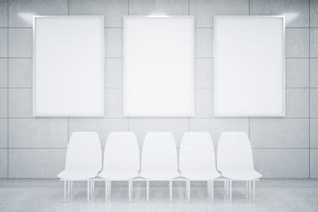 rown: Abstract interior with tile wall, concrete floor, three blank posters and white chairs. Mock up, 3D Rendering