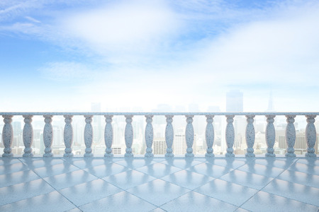 pillars: Front view of balcony with concrete pillars and tile floor on city and bright sky background. 3D Rendering
