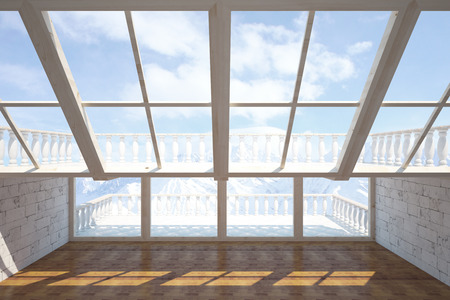 balcony view: Front view of interior with two balconies and snowy mountains view. 3D Rendering