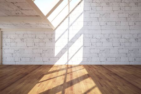 interior walls: Empty interior with white brick walls, wooden floor and daylight. 3D Rendering