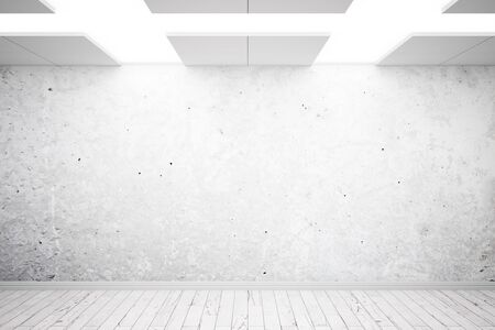 ceiling design: Empty concrete interior design with grey pattern on ceiling and blank wall. Mock up, 3D Rendering Stock Photo
