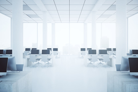 hall monitors: Modern bright coworking office interior with city view and daylight. 3D Rendering Stock Photo