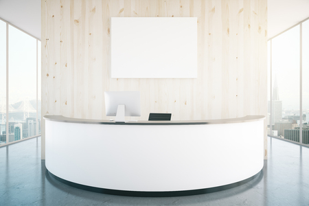 Modern white reception desk with blank banner in interior with wooden wall, shiny floor and panoramic windows with city view. Mock up, 3D Rendering Stok Fotoğraf