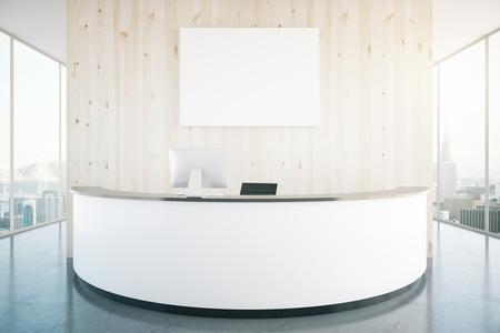 recepcion: mostrador de recepción moderno blanco con la bandera en blanco en el interior con paredes de madera, suelo brillante y ventanas panorámicas con vistas a la ciudad. Maqueta, 3D