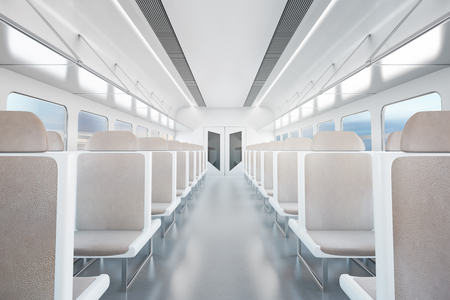 intercity: Empty passenger train interior with beige seats. 3D Rendering