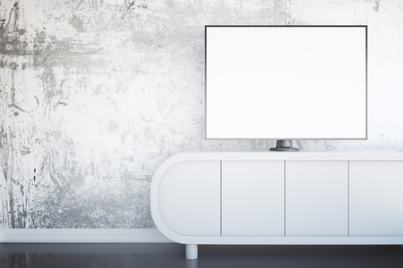 shiny floor: Front view of light tv stand with blank white TV screen in interior with textured concrete wall and shiny floor. Mock up, 3D Rendering Stock Photo