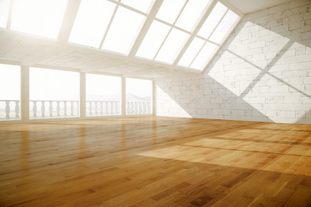daylight: Side view of creative empty interior with balcony, wooden floor, white brick walls and daylight. 3D Rendering Stock Photo