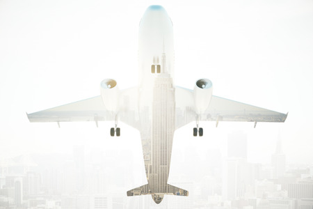 at the bottom of: Bottom view of airplane on abstract New York city background. 3D Rendering. Double exposure