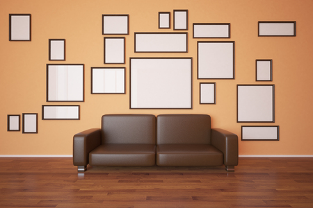 museum: Front view of a collection of small frames and brown leather couch in interior with orange wallpaper and wooden floor. Mock up, 3D Rendering Stock Photo