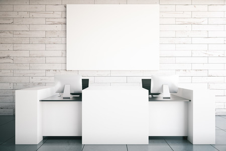 white poster: Modern white reception desk with two computer monitors and blank billboard in room with wooden wall and tile floor. Mock up, 3D Rendering Stock Photo