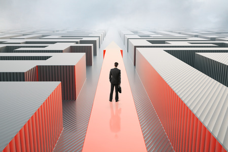 Businessman standing on red arrow going through abstract maze on stormy sky background. Success concept. 3D Rendering