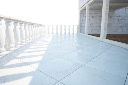 balustrade: Side view of balcony with white pillars and tiles floor on bright background. 3D Rendering