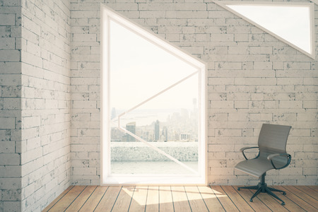 chair wooden: Grey swivel chair in interior with white brick walls, wooden floor and window with city view and daylight. 3D Rendering Stock Photo