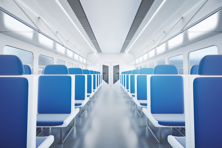 aisle: Empty passenger train interior with blue seats. 3D Rendering Stock Photo