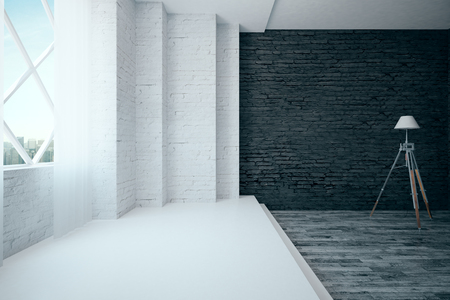 flooring: Modern white and black brick interior with wooden and concrete flooring, window with city view and floor lamp. 3D Rendering Stock Photo