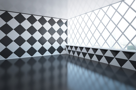 Abstract empty room design with chessboarddiamond-patterned wall and windows with city view. 3D Rendering Stock Photo