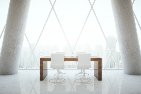 small room: Small wooden conference table in abstract office room interior with concrete columns and patterned withdow with city view. 3D Rendering Stock Photo