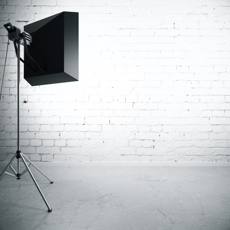 professional lighting: Empty brick wall illuminated with professional lighting equipment. Mock up, 3D Rendering