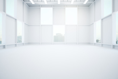 warehouse interior: White warehouse interior with city view. 3D Rendering