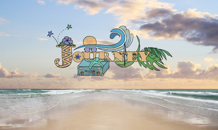 Journey word drawing with travel icons on seashore background. Traveling concept