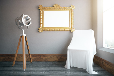 white cloth: Interior with empty ornate picture frame, projector and chair under white cloth. Mock up, 3D Rendering