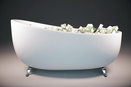 ganancias: Bathtun llenó de billetes de dólar en fondo gris. Concepto de éxito Representación 3D Foto de archivo