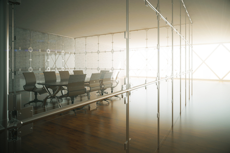 nobody real: Modern conference room interior with wooden floor and daylight. 3D Rendering