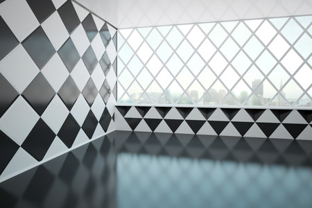 Abstract empty interior design with chessboarddiamond-patterned wall and windows with city view. Side view, 3D Rendering