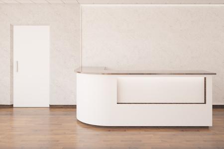 reception desk: Interior with empty reception desk, wooden floor, concrete walls and white door. 3D Rendering