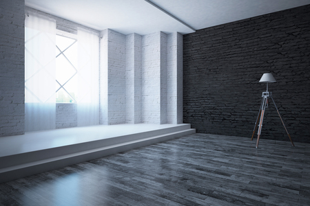 flooring: Modern white and black brick interior with wooden and concrete flooring, window with city view, curtains and floor lamp. Side view, 3D Rendering