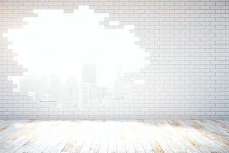 Abstract broken white brick wall with New York city view in room with wooden floor. 3D Rendering