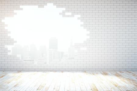 pared rota: Extracto de la pared de ladrillo blanco roto con vista a la ciudad de Nueva York en la habitación con suelo de madera. Representación 3D