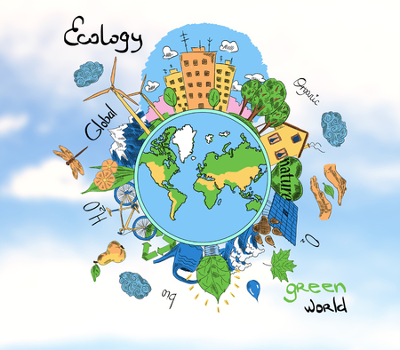 Creative sketching of globe with natural healthy lifestyle icons on sky background. Ecology concept