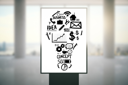idea sketch: Ad stand with abstract light bulb business sketch on blurry background. Idea concept, 3D Rendering