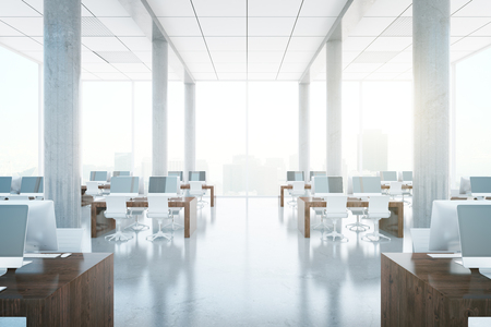 Modern coworking office interior with city view and daylight. 3D Rendering Stock Photo