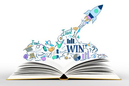 Offenes Buch mit kreativen Start-Skizze auf weißem Hintergrund. Start up-Konzept Lizenzfreie Bilder