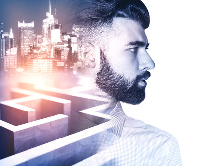 business obstacle: Side view of young man on side turned city and maze background with abstract sunlight. Business obstacle concept. Double exposure