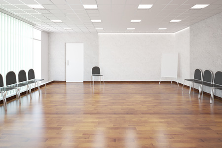numerous: Interior with shiny wooden floor, concrete walls, patterned ceiling, white door, numerous chairs and empty whiteboard. presentation concept. 3D Rendering