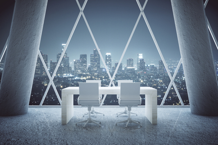 design interior: Small wooden conference table in abstract office room interior with concrete columns and patterned withdow with night city view. 3D Rendering Stock Photo