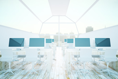 comfort classroom: Modern coworking office interior with various computer monitors on white desks. Window with city view in the background. 3D Rendering